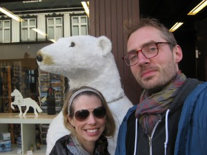 With our baby Bjørn, a polar bear in Iceland.